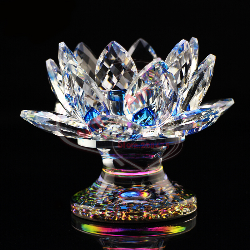 Crystal Lotus Buddhism Candle Holder Feng Shui Lotus Tealight Candle Holder for Islamic Religious Gifts
