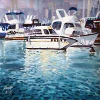 Oil Painting White Yacht Blue Sea Photography Backdrop 5x7ft Digital Printed Background For Photo Studio Camera
