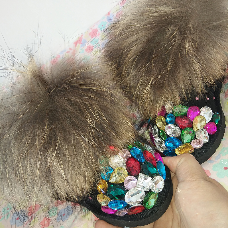 Free Shipping Handmade Rhinestone colorful crystal girl's kids bling fox fur Snow Boots children Boots warm Winter Shoes