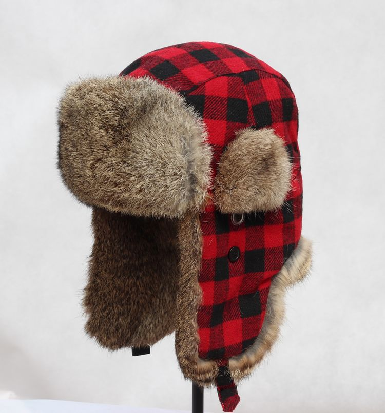 Fashion Winter Pilot Men Women red Plaid Rabbit Fur Russian Hat Bomber Cap  Military Unisex Ear Protect Warm Hat gorro-in Holidays Costumes from  Novelty ... e5c0eb842be
