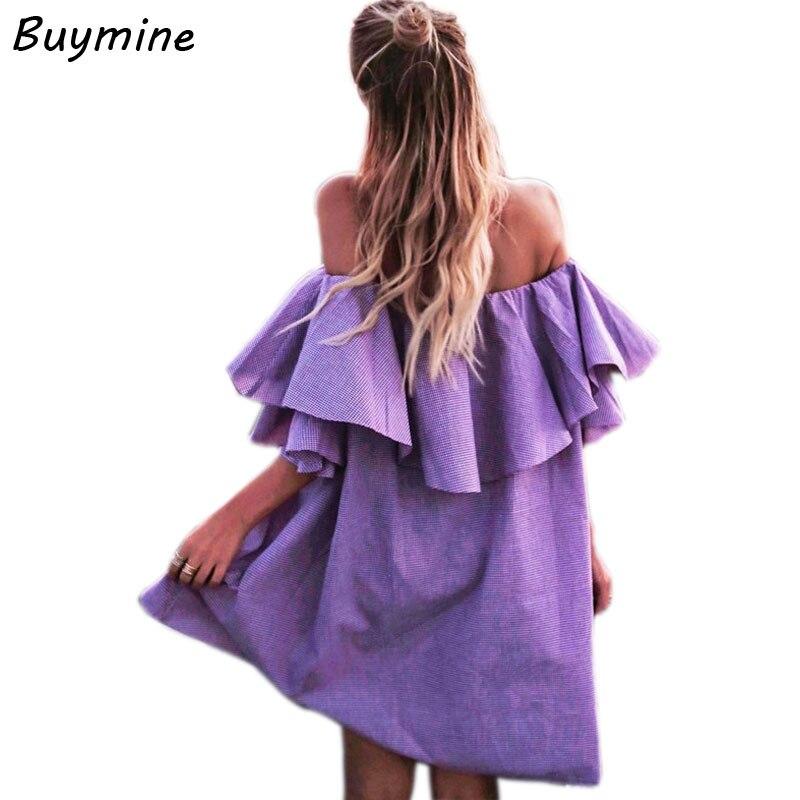 Fly Ruffles Summer Dress Slash Neck Sexy Party Dresses Women ...