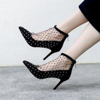 Sexy Black Mesh Crystal Decor High Heel Wedding Shoes Bride Pointed toe Hollow Black Cage Shoes Low Heels Pumps Women Shoes