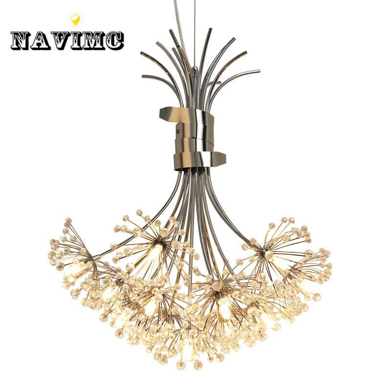Modern Led Crystal Pendant Lights Fixture for Dining Room Kitchen Flower Dandelion Design Hanging Pendant Lamp
