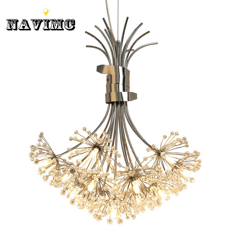 Modern Led Crystal Pendant Lights Fixture for Dining Room Kitchen Flower Dandelion Design Hanging Pendant Lamp