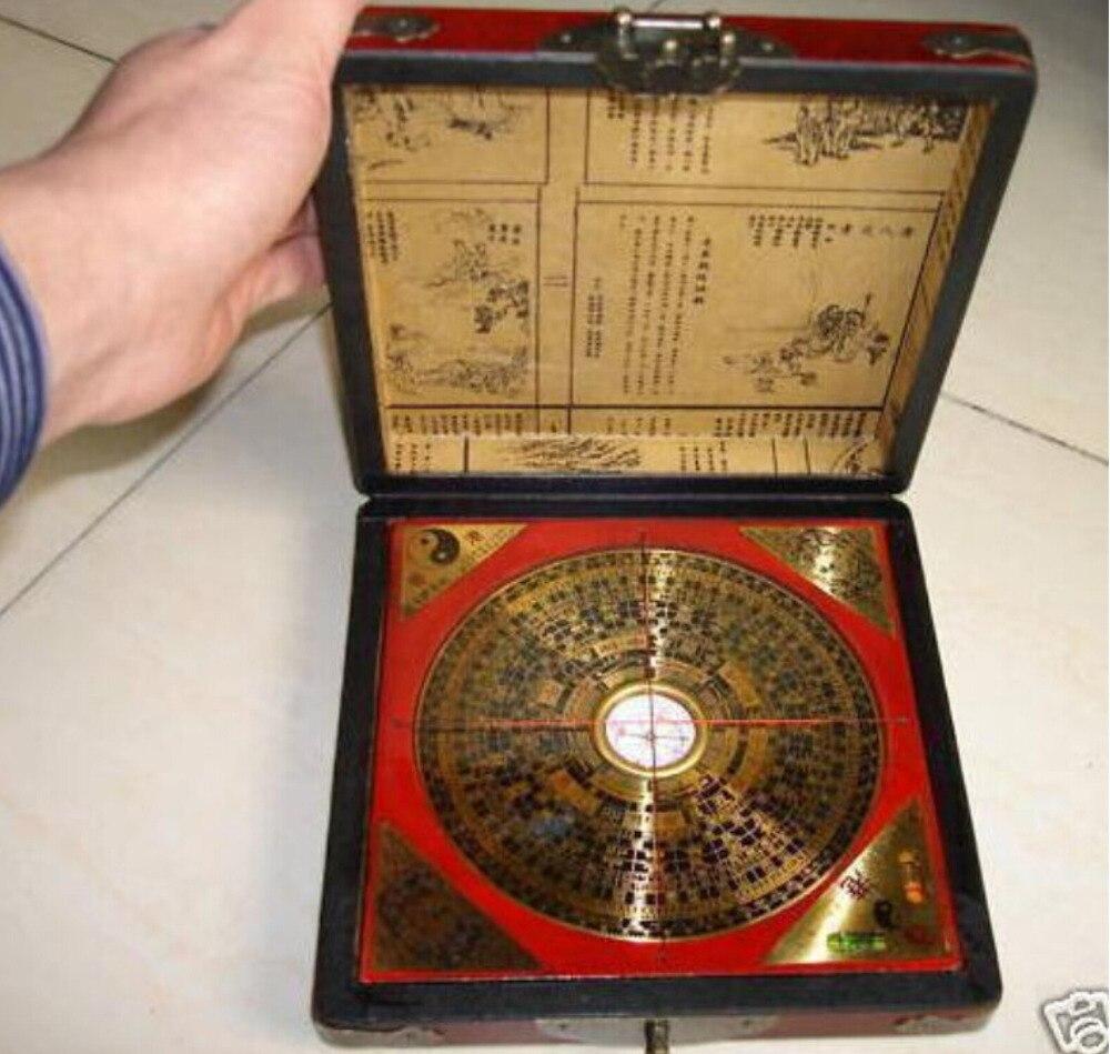 Chinois Feng Shui vieille boussole avec boîte en bois de dragon livraison gratuite