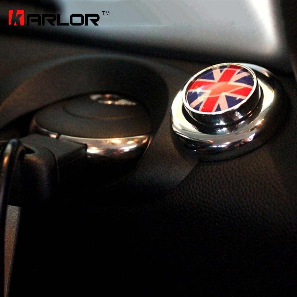 цена на For mini cooper clubman countryman R55 R56 R57 R58 R59 R60 R61 start button sticker union jack Silver border inerior accessories
