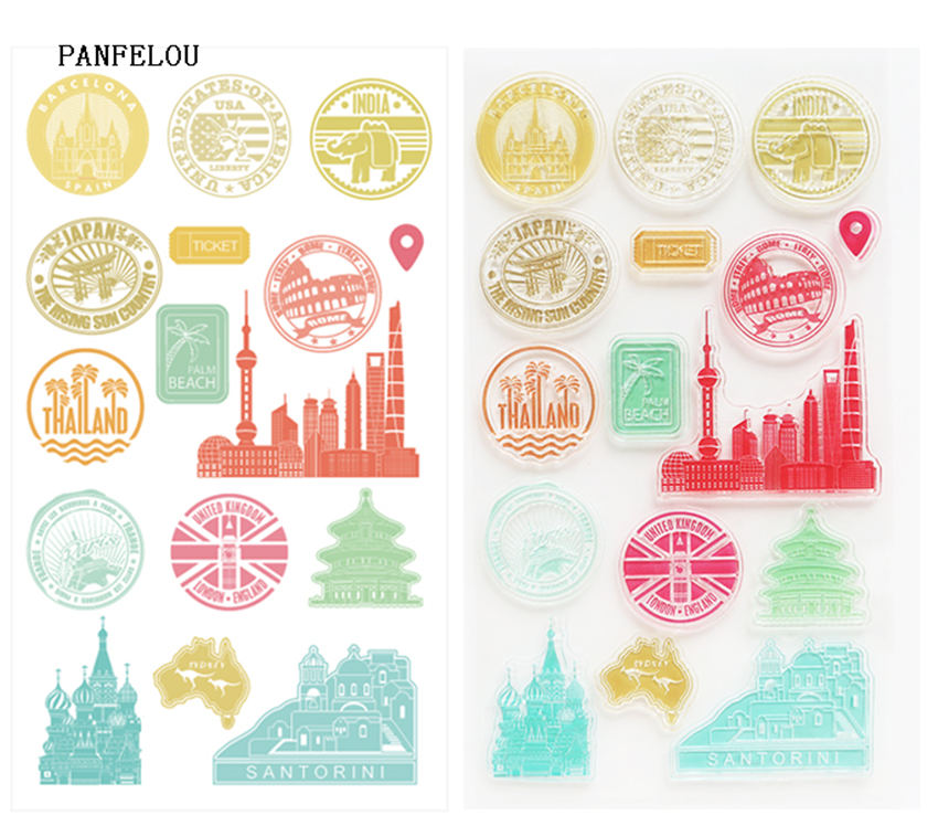 PANFELOU NEW YEAR Travel the world Silicone Stamp/Seal DIY scrapbooking/photo album Decorative clear stamp sheets