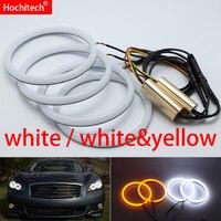 for Infiniti M Y51 M25L M35hL M35 M37 M56 Q70 2011 2014 White & yellow Cotton LED Angel eyes kit halo ring Turn signal light