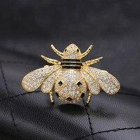 2017 новое золото и серебро Мода AAA циркон насекомых Би брошь значки для женщин или мужчин 002257