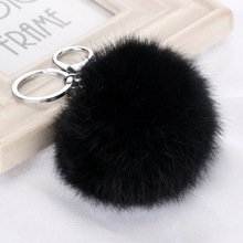 все цены на 8cm Cute Fluffy Real Rabbit Fur Ball Pompom Key Chain Ring Fur Pom Pom Keychain Woman Bag Charms Car Pendant Keyring Holder Gift онлайн