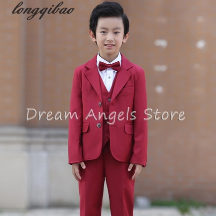 (Jackets+Vest+Pants+Shirt+Bow tie)Boy Suits Flower girl Slim Fit Tuxedo Brand Fashion Bridegroon Dress Wedding red Suits Blazer stylish flower jacquard 8cm width wedding red tie for men