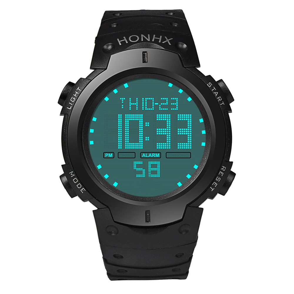 Honhx Fashion Waterproof Men's Watch Boy LCD Digital Stopwatch Date Time Clock Rubber Strap Military Sport Wrist Watches drop shipping gift boys girls students time clock electronic digital lcd wrist sport watch july12