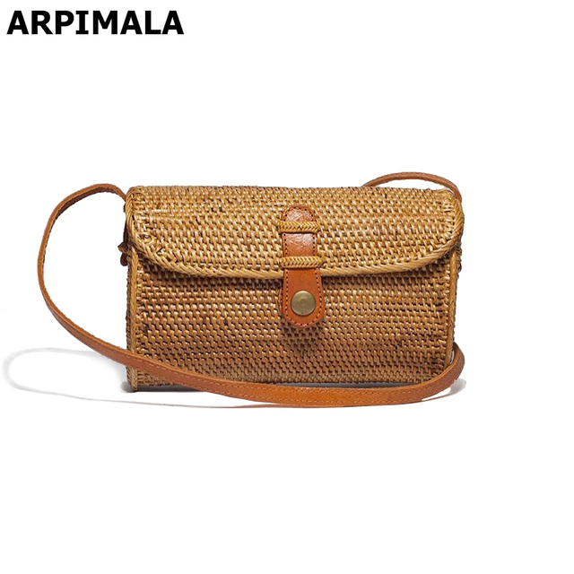 Arpimala 2017 Vintage Straw Clutch Bags Small Rattan Handbags Luxury Designer Women Messenger Handmade Hand