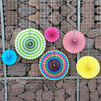 6 PCS 3 Size Colorful Round Wheel Decorative Paper Fans For Party Festival Birthday Wedding Event