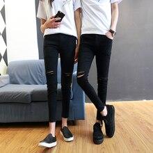 Spring hole jeans men and women slim pants men Korean fashio