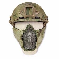 Nuevo caza táctico de alambre de acero de la máscara media montar en bicicleta al aire libre campo al aire libre CS de malla de Airsoft máscara resistente