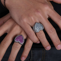 Pink/White CZ Stone Paved Bling Ice Out Heart Shape Men Women Rings White Gold Color Men Big Wide Hip Hop Ring Jewelry Size 7 11