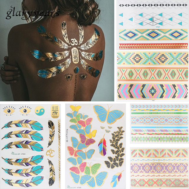 6 Sheets Feather Butterfly Design Temporary Metallic Tattoo Sticker Adult Back Clavicle Body Art Jewelry Bracelet Tattoo Sticker