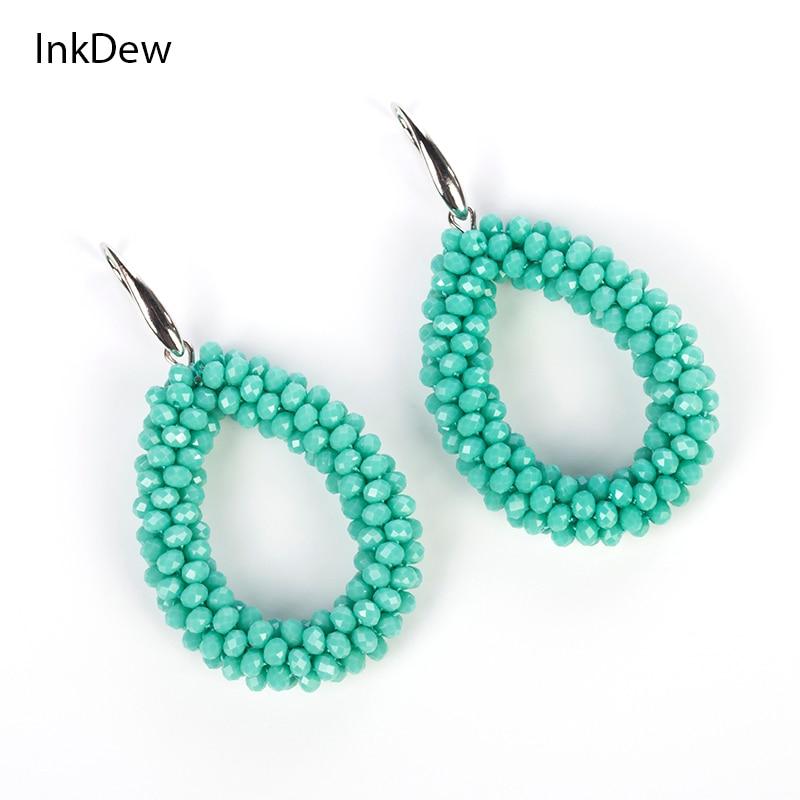 INKDEW 봄 색상 여성을위한 새로운 워터 드롭 귀걸이면 처리 된 비즈 수제 크리스탈 귀걸이 빅 귀걸이 롱 귀걸이 빈티지