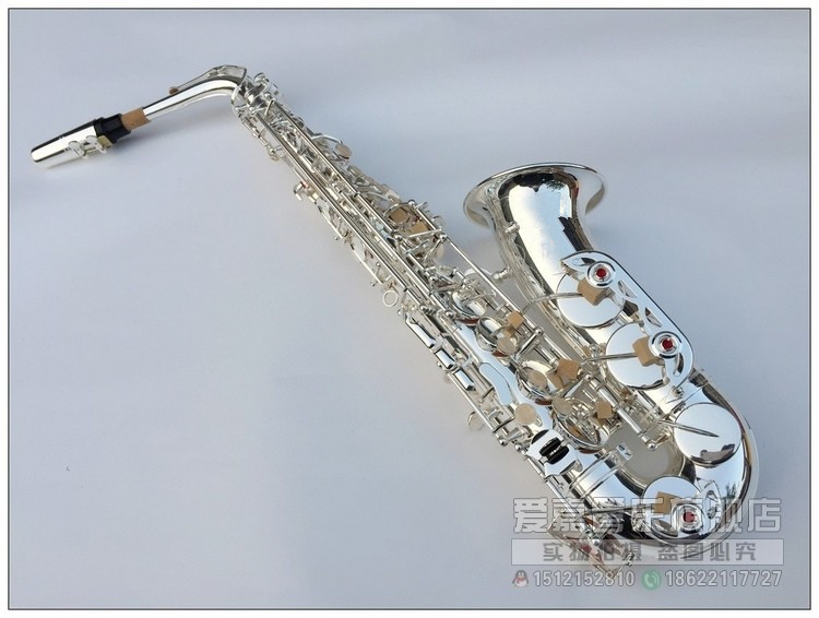 Alto Saxophone New Eb Silver Alto Sax plated Brass Musical Instruments Professional saxophone Alto Sax E Flat free shipping france henri selmer saxophone alto 802 musical instrument alto sax gold curved saxfone mouthpiece electrophoresis