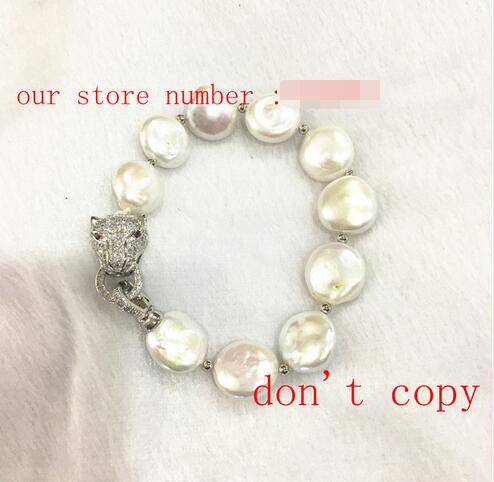 New natural freshwater pearl bracelet twist buckle pearl-shaped leopard buttons>>> women jewerly Free shipping