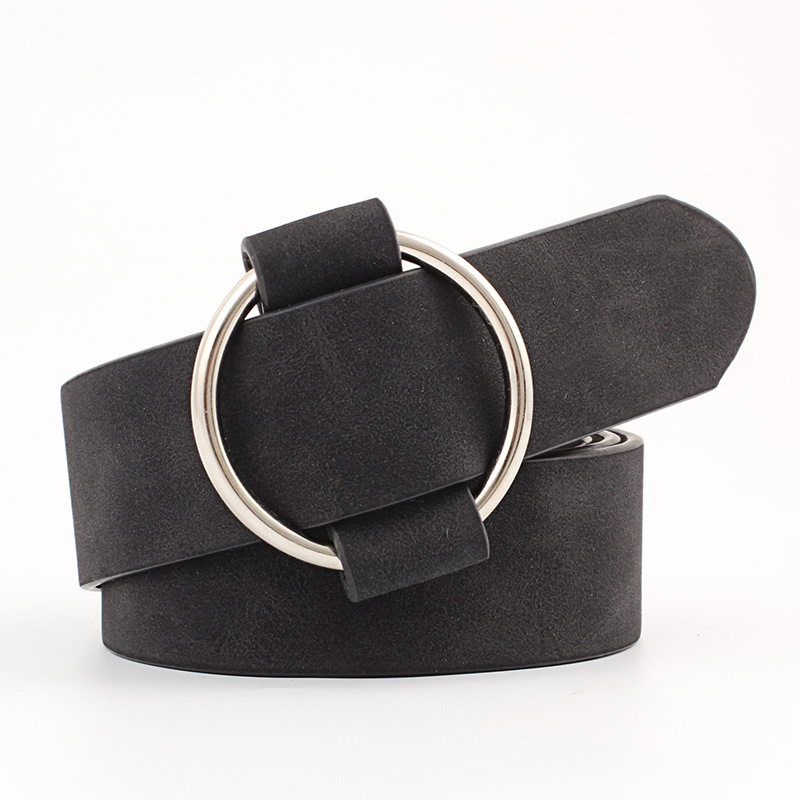 Round Buckle Women Belt Female Leisure Jeans Wild Without Pin Metal Buckle Leather PU Waist Belt for Women Ladies Strap Belts
