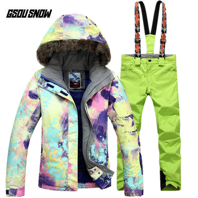 GSOU SNOW Brand Winter Women Ski Suit Waterproof Skiing Jackets  Snowboarding Pants Ladies Mountain Skiing Suits Cheap Snow Coats 3e68c22ef