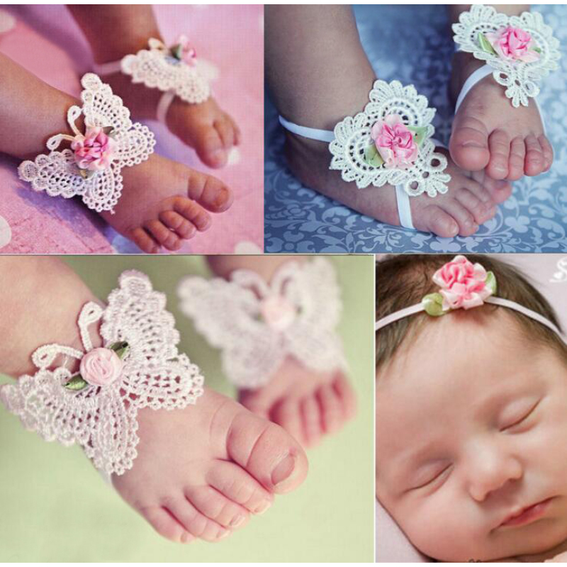 Haarband Baby Girls Flower Barefoot Sandals Headband Foot Set Elastic Hairband Infant Kids Hair Accessories Headbands 3Pcs/setD2