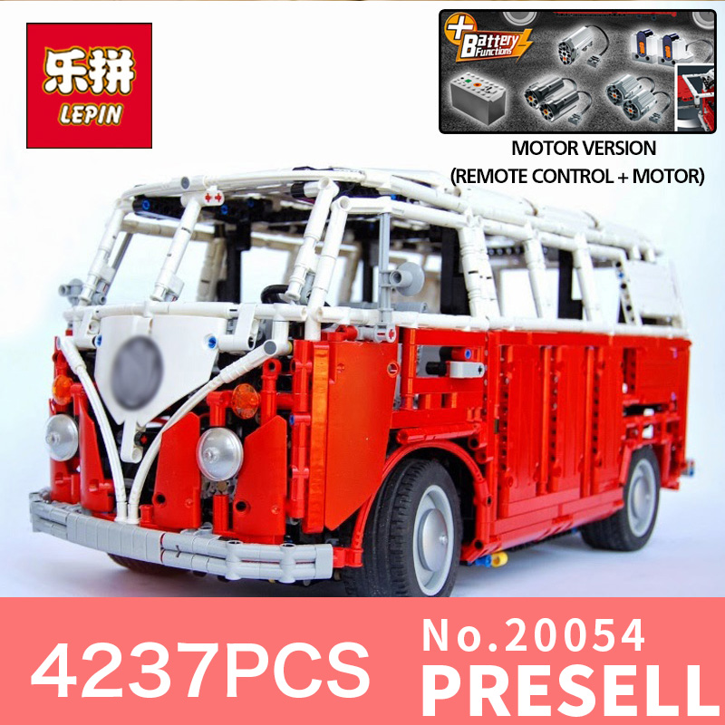 4237Pcs Lepin 20054 Technic Series Remote Control RC T1 Classic Camper Building Block Bricks Compatible 10220 Toy model цена и фото