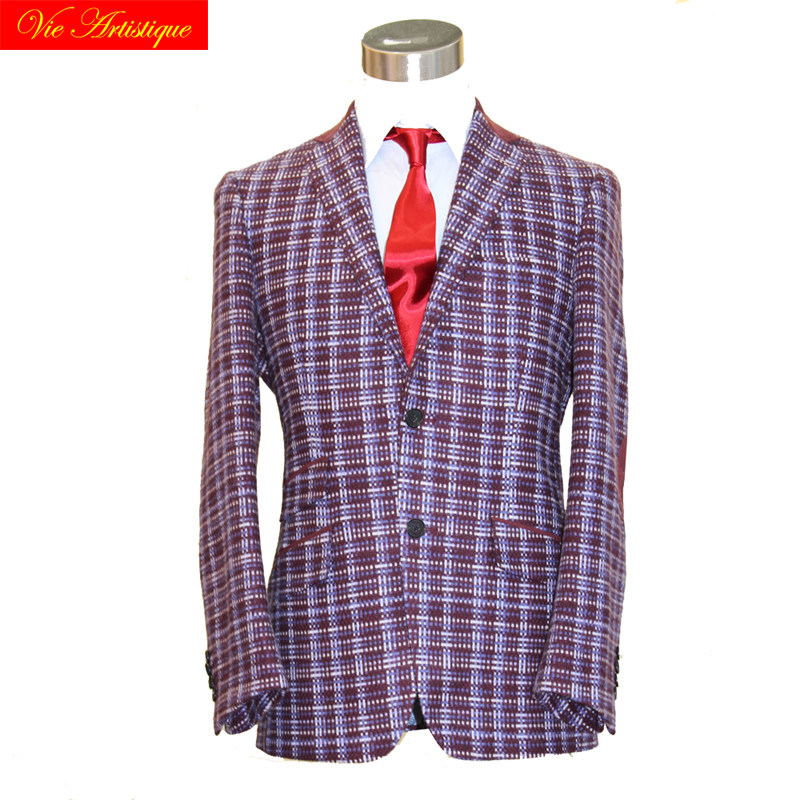 Custom Tailor Made Men's Bespoke Suits Business Formal Wedding Ware Bespoke 1 Piece Jacket Coat Purple Plaid Wool Slim Fit