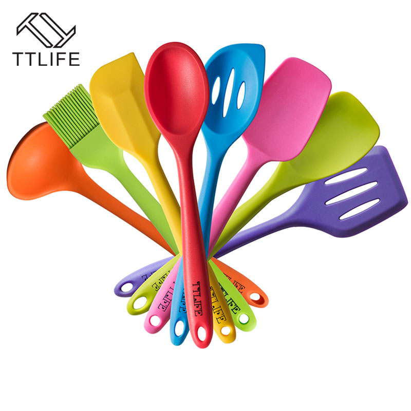 TTLIFE FDA approved 8pcs Silicone Cooking Tools Utensil Set Heat Resistant Silicon Kitchen Cooking Set