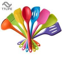 TTLIFE FDA genehmigt 8 stücke Silikon Kochen Werkzeuge Utensil Set Hitzebeständige Silicon Küche Kochen Set