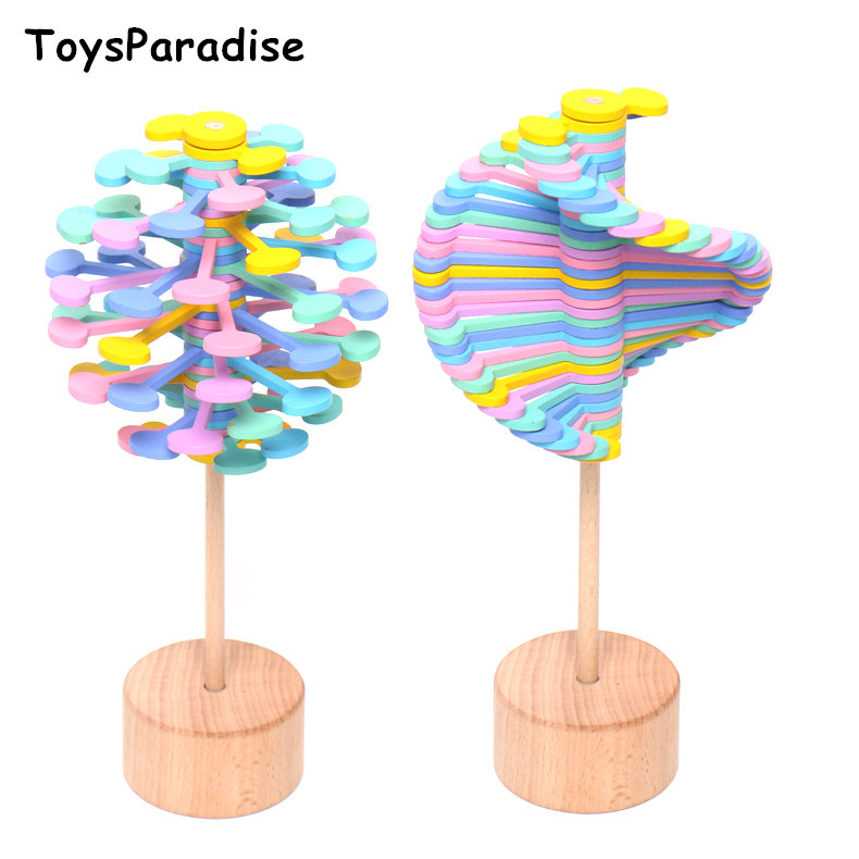 Stress Relief Toy Candy Decompression Stick Wooden Toys For Kids Rotating Lollipop Simulation Classic Toys Educational Gift