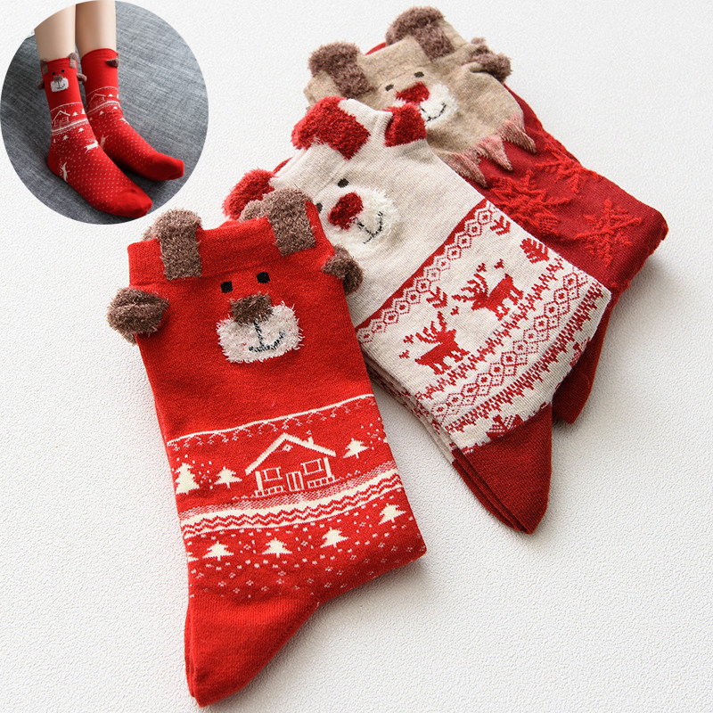 New 2018 Women Sock Winter Warm Christmas Gifts Stereo Socks Soft Cotton Cute Santa Claus Deer Xmas