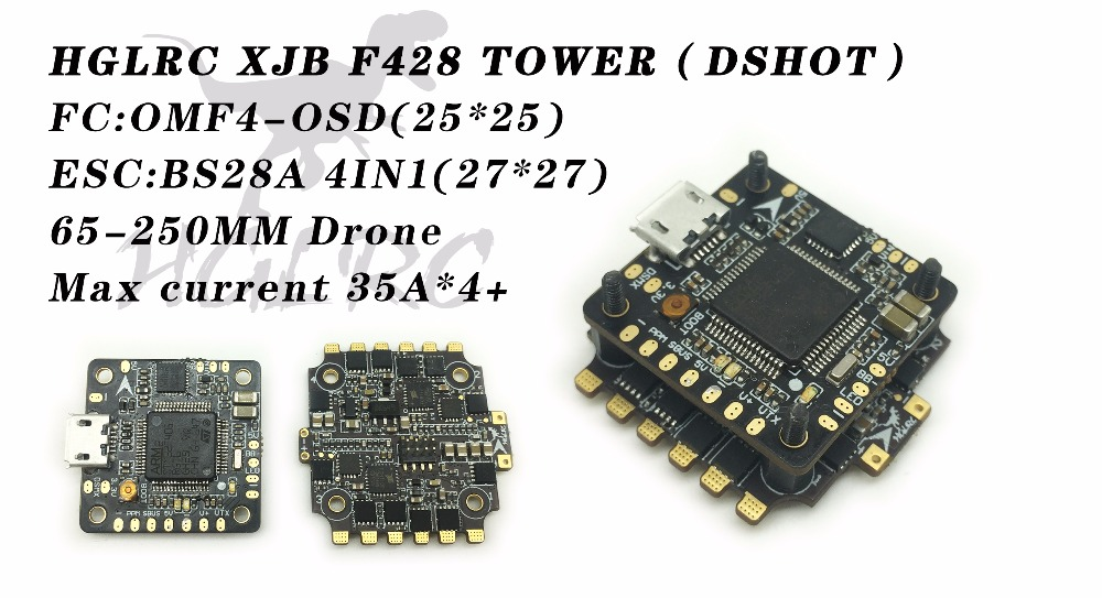 HGLRC Micro F4 Tower Flight Control XJB F428 DSHOT Flytower OSD BEC Flight Control & 28A Blheli_S 2-4S 4 In 1 ESC все цены