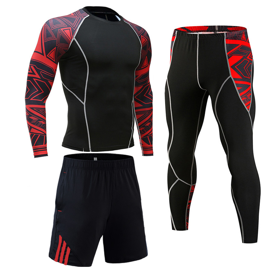 Tracksuit For Men Track Suit Jiu Jitsu Rash Guard  MMA Compressed Clothing Gym Joggers Tracksuit Quick Drying Tights Sports Suit