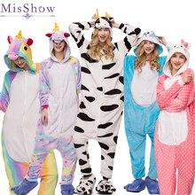2018 Wholesale Winter unicorn Pajama sets Women pajama kigurumi onesies for adults Animal Pajamas Cartoon Cosplay Home Sleepwear