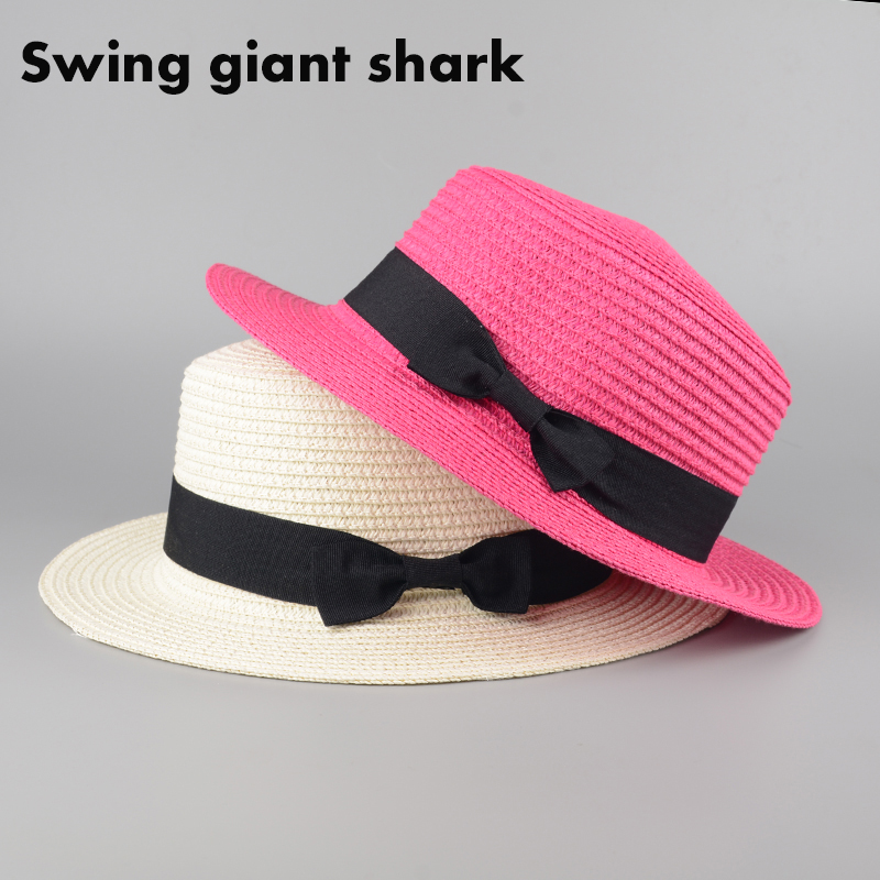 Summer fashion small ceremony hat brimmed straw hat bow Ms. England topping cover sun hat beach hats for women