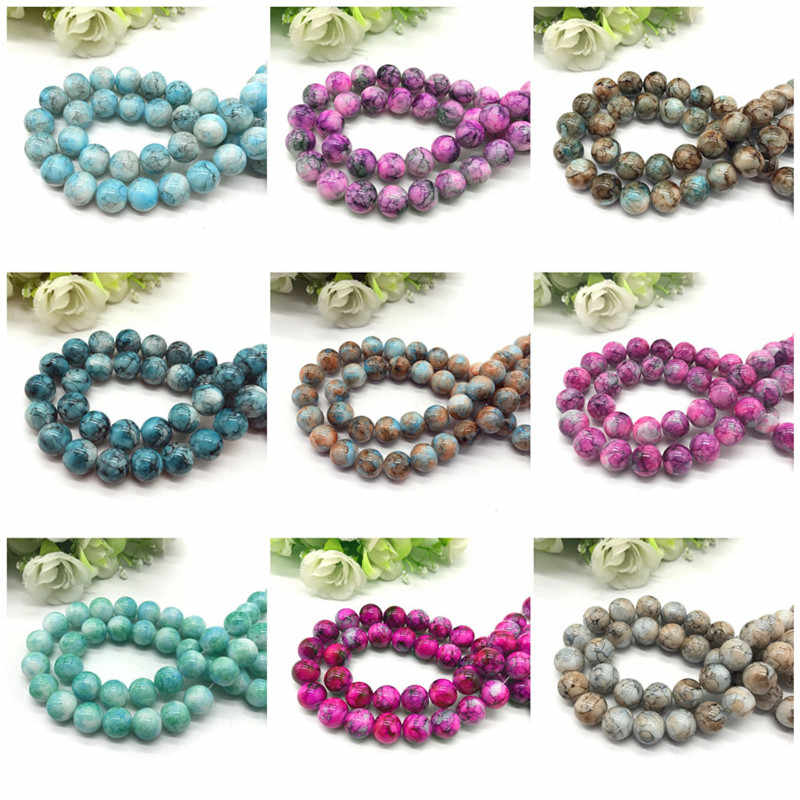 Wholesale 6 8 10mm pattern  glass bead spacer jewelry Bulk  Beads For Jewelry Making DIY Bracelet Necklace Jewelry