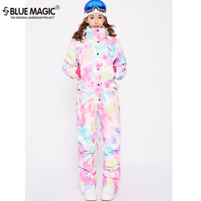 Синий волшебный водонепроницаемый Сноубординг цельный лыжный комбинезон женский сноуборд-30 градусов лыжный костюм зимняя одежда комбинезон - Цвет: NEW WATER COLOR