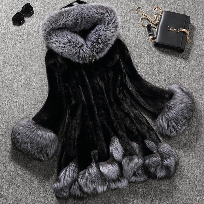 Plus Size 6XL Luxury Women Winter Warm Faux Fur Jacket Female Fox Rabbit Fur Hoodied Imitation Coat Skirt Style Mink fur Jacket