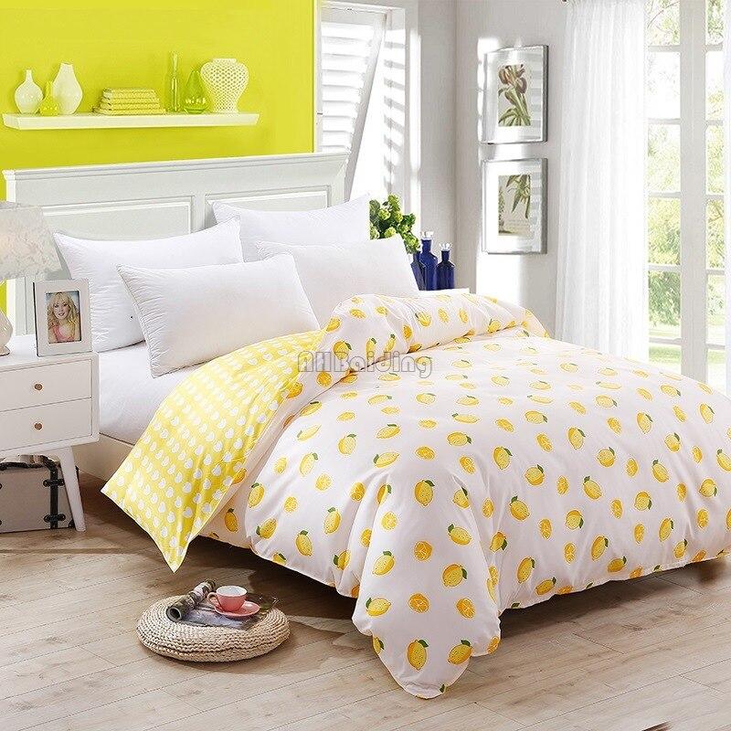 1 Pcs Gelb Zitrone Bettbezug Plaid Streifen Quilt Abdeckung