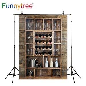 Image 2 - Funnytree photography backdrops Shelving wine bottles glasses wooden wall alcohol cellar bar beverage background fotografia
