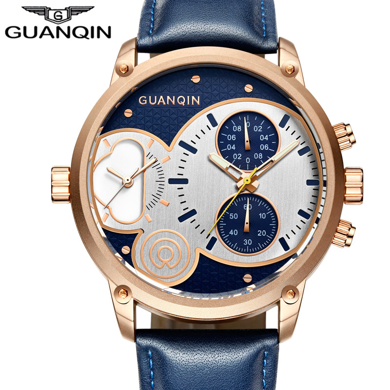 GUANQIN Luxury Brand Creative Men Sport Chronograph Luminous Hands Clock Retro Leather Big Dial Quartz Watch Relogio Masculino