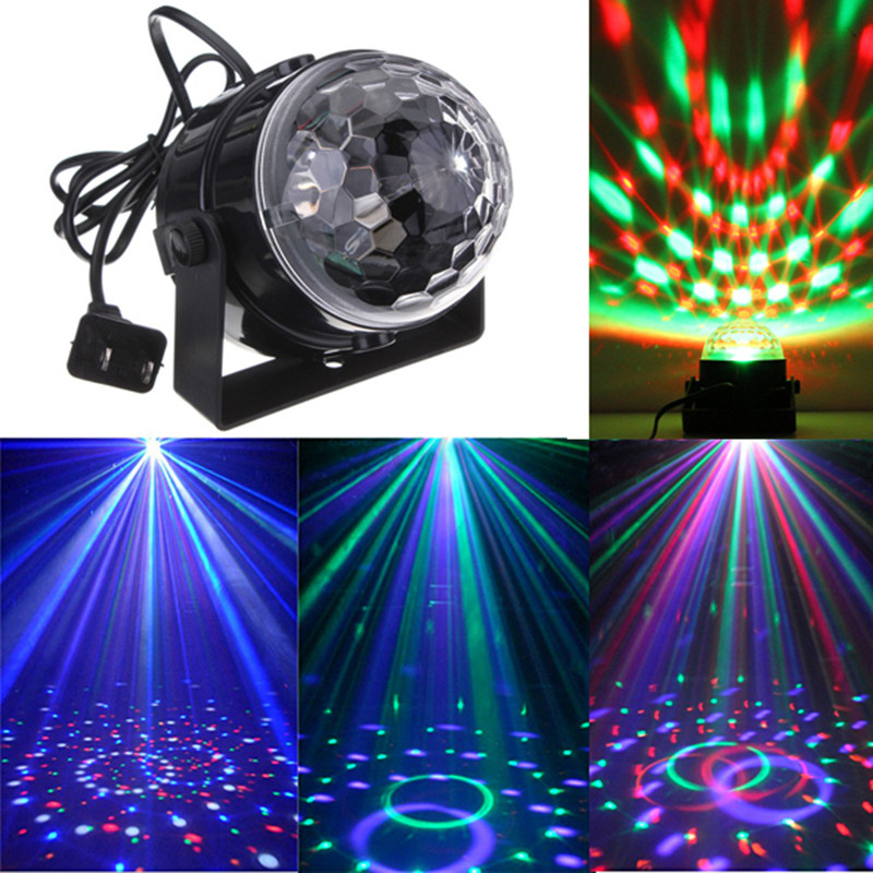LED Voice Activated Stage Projector Light Crystal Magic Ball 7 Colors auto Rotating LED RGB Stage Light for Disco home party