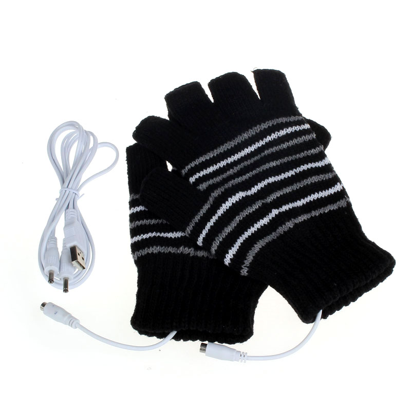 Creative 5V USB Powered Heating Heated Gloves Women Hand Warmer Winter Knitting Wool Mitten Fingerless Gloves Gants Femme