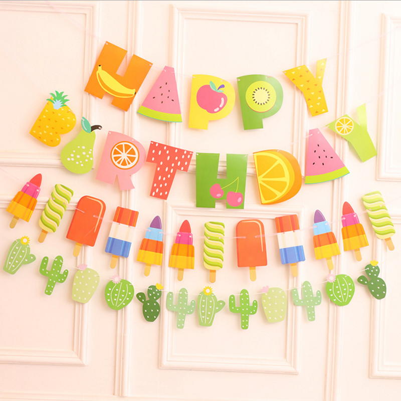 1pcs Creative HAPPY BIRTHDAY Banner Bunting Fabrics Cactus Fruit Popsicle Garland Banner Baby Shower Birthday Party Decoration