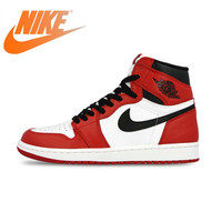 Original Authentic Nike Air Jordan 1 Retro High top Men's Basketball Shoes OG Fashion Red White Breathable 2019 New 555088 101