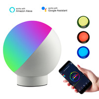 EU/US Plug LED Desk Lamp Smart Wifi Voice Control Night Light Dimming Timming LED Eye Protection Table Lamp Round Colorful RGB