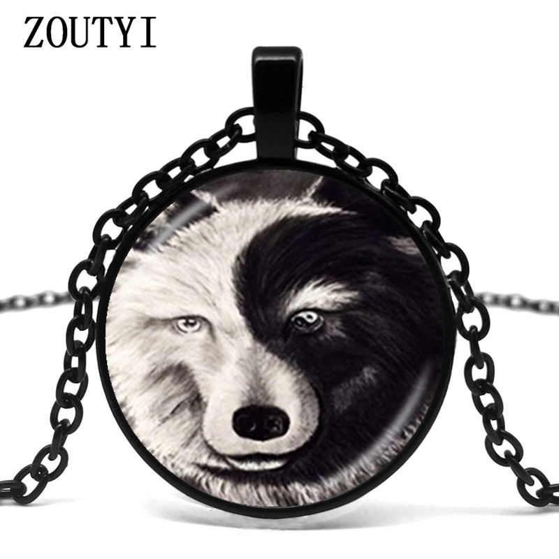 2018/Retro <font><b>Ying</b></font> and <font><b>Yang</b></font> Wolf Necklace Gray Black Animal Pendant Glass Bullet Bronze Chain Necklace No <font><b>Collar</b></font> Female Accessories image